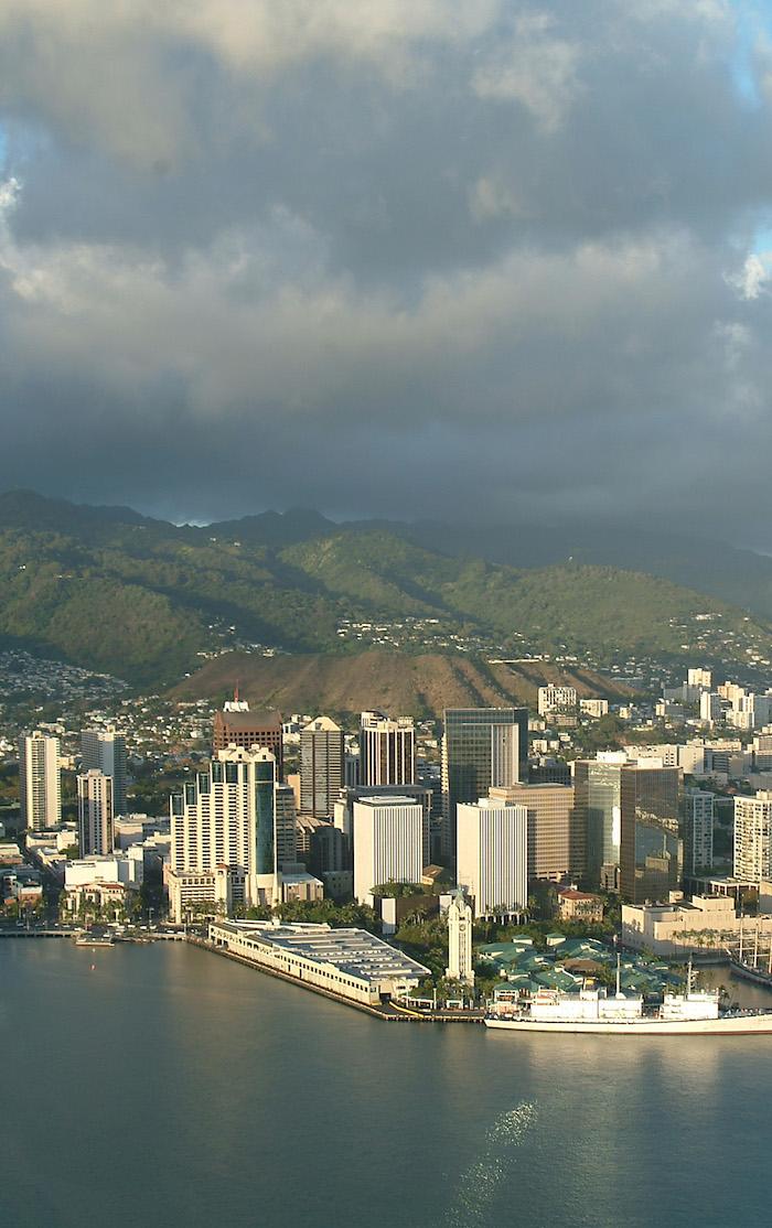 Honolulu harbor and downtown Honolulu Oceanit